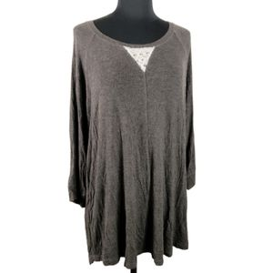 Eyeshadow Flowy Tunic with Crochet Lace Top